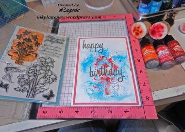 (2018 c51) Happy Birthday Spring Flowers alc ink