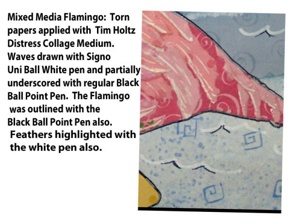 (2020 c062) Mixed Media Flamingo 2